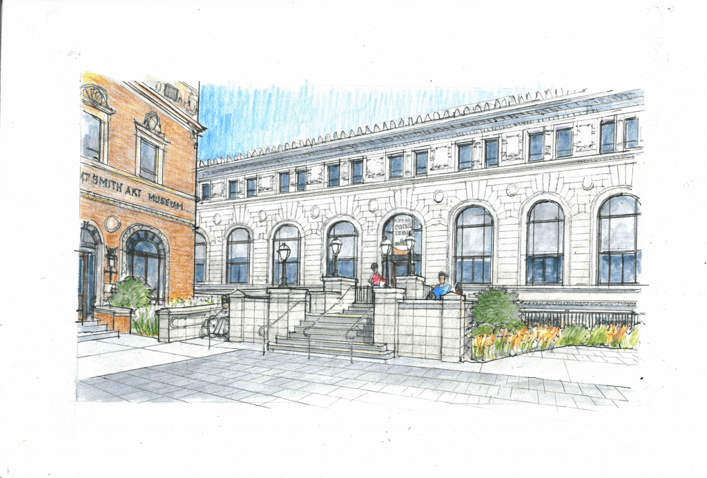 Artist rendering of the Central Library renovations looking towards the library