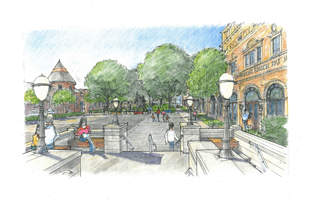 Artist rendering of the Central Library Plaza looking out toward the Springfield Museum Quadrangle