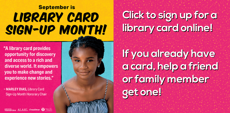 Library Card Sign-Up Month 2021 Slider